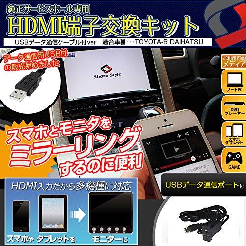 【シェアスタイル】【USBデータ通信ケーブル付ver】HDMI増設サービスホールキット HDMI端子を増設して スマホとモニタをミラーリング (TOYOTA-B/DAIHATSU)