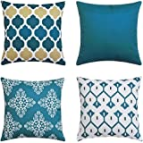 Andreannie Pack of 4 Blue Outdoor Waterproof Double-Sided Printing Decorative Throw Pillow Cover Cushion Case for Garden Tent
