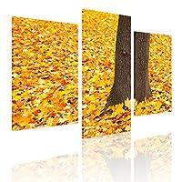 """Alonlineアート–Leaves横にAツリー分割3パネルフレーム入りのコットンキャンバスホーム装飾壁アート博物館品質フレームをハングアップする準備フレーム 39""""x26"""" - 99x66cm (Stretched Cotton Canvas) VF-3PN175-SCC0F01-1P3D-39-26"""