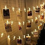 RUIYI LED ストリングスライト 写真飾りライト 2.2M DIY壁飾り 20LED 写真クリップ DIY壁飾り LEDイルミネーションライト 電池駆動式 新年/結婚式/誕生日/祝日/パーティー 写真飾りなどに適用