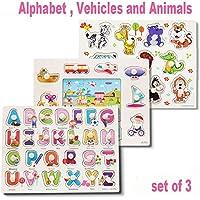 型はめ 指遊び パズル 指先で つまむ 色と形の知育 パズル 木製 知育 玩具 出産祝い お誕生日 人気 ギフト( 乗り物 動物 アルファベット ) 3点 セット
