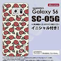 SC05G スマホケース Galaxy S6 カバー ギャラクシー S6 イニシャル つばき ベージュ nk-sc05g-1701ini J
