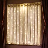 HXWEIYE Short Curtain Lights for Small Window, 3.3x5Ft Warm White Fairy Light with Timer & 8 Clips for Bedroom, Battery Power