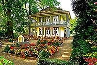 Sim、ハンドメイドプレミアムBasswoodジグソーパズル1000ピース明るいカラーFamouseペイント29.5X 19.6インチNobleness Present inボックスpresent-wrap : Garden trees flowers chairs