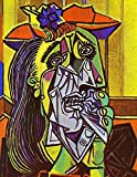 ピカソ 「泣く女」シルク調生地 ファブリック アート キャンバス ポスター 約90×60cm [並行輸入品]