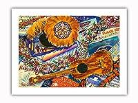 ハワイアンノスタルジア - ウクレレ、フェザー・ゴードス ('Uli 'Uli)、楽譜 - オリジナルハワイ水彩画から によって作成された ペギー チュン - プレミアム290gsmジークレーアートプリント - 30.5cm x 41cm