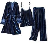 Women Pajamas,3 Pcs Winter Sleepwear Pajamas Set Women Sexy Lace Velvet Pyjama Warm Sexy Pajamas Long Sleeves Sleepwear Homew
