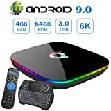 Android 9.0 TV Box,EASYTONE Q Plus Android Boxes with 4GB RAM 64GB ROM Quad-core H6 Support 6K Full HD Wi-Fi 2.4Ghz USB 3.0 H