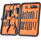 HailiCare Manicure Pedicure Set Nail Clippers - 15 in 1 Men's Stainless Steel Professional Pedicure Kit Nail Scissors Groomin