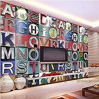 Sproud 大きな壁画のソファベッドが置かれたリビングルーム 3 D レトロノスタルジックなステレオの文字の壁紙バー Ktv Tv 背景の壁面の壁紙 350 Cmx 245 Cm