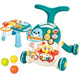 UNIH Baby Sit to Stand Learning Walkers & Activity Table, 2 in 1 Early Education Activity Center,Cute Seals Crab Musical Toys