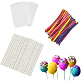 360Pcs 6inch Lollipop Sticks, Cake Pops, Candies, Chocolates and Cookies Bag Set Including 120 Parcel Bags, 120 Papery Treat