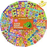 36 Sheets Scratch and Sniff Stickers,9 Different Sweet Smells Have Fun with Your Teachers,Parent,Friends for Reward,Crafts,Motivation-Reward Stickers