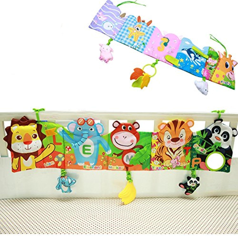 Hosimベビーベッド布本動物パズルおもちゃライオン/ Monkey /パンダ、Perfect for Kids幼児教育開発 – 新生児Rattleベビーベッドベッドギャラリーバンパーパッド10個入りとさまざまなパターン