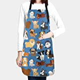 Duduho Cute Dogs Pets Apron with 2 Pockets Cooking Kitchen Bib Aprons for Women Men Unisex Adjustable Waterproof Stain Resist