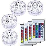 VIPMOON 10-LED RGB水中ライト、4点セット RGB リモコン付 電池式花瓶ベース、花、水族館、池、パーテ…