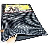 ブラックホール 二重構造 猫の砂取りマット 75cm x 58cm - 猫のトイレマット (Dark Gray)