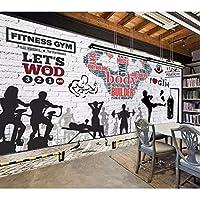Xbwy カスタム壁画壁紙ジム壁画レンガ壁運動フィットネスクラブ画像壁の背景装飾的壁紙3 D写真壁紙-150X120Cm
