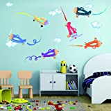 Colourful Aircrafts Jet Plane Wall Decals - Airplane Fighter Jet Copter Show Wall Sticker - Aviation Gift Boys Kids Nursery W