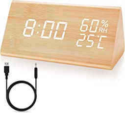 JOYNOTE目覚まし時計 木製 置き時計木目調デジタル 置き時計 大きなLED数字表示 大音量 アラーム 多機能 温度湿度計カレンダー付き 省エネ 音声感知 USB給電 ナチュラル風