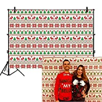 Allenjoy 7x5フィート アグリーセーターバックドロップ タッキー ホリデーパーティー イベント用品 装飾 装飾 メリークリスマス フェスティバル ハッピーイヤー ウィンター シーズン 家族 友人 背景 バナー 写真ブース用小道具