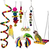 7pcs Birds Cage Swing Set Parrots Toys with Bell Colorful Chewing Hanging Hammock for Parakeets, Macaws, Conures, Budgies, Lo