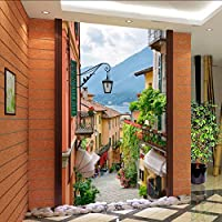 Lixiaoer カスタム写真の壁紙ヨーロッパの街のストリートビューの入り口の背景現代の絵画壁画壁紙家の装飾リビングルーム-400X280Cm