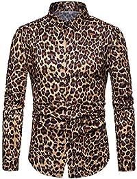 Keaac メンズファッションレオパードプリントカジュアルロングスリーブボタンダウンシャツ