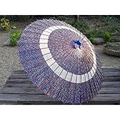 蛇の目傘 花輪 青