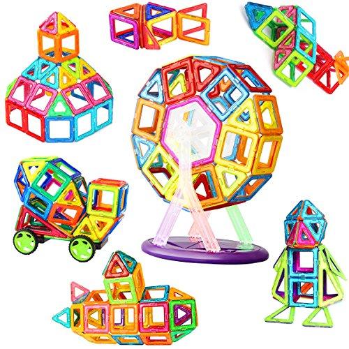 磁石ブロック マグネット おもちゃ 知育玩具 子供プレゼント 「磁気ブロック56個 他の車輪・観覧車・パネルパーツ52個」マグネットブロック 立体 外しにくい 磁石 積み木 カラフル マグネットブロック AUGYMER想像力と創造力を育てる知育 おもちゃ 男の子 女の子 おもちゃ 贈り物 誕生日 プレゼント 出産祝い 入園 クリスマスギフト DIY【収納ケース付き】