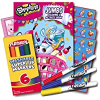 Shopkins Colouring Book with Stickers and Washable Markers 96 Page Colouring Book, Shopkins Stickers, Washable Markers & Bonus Sticker