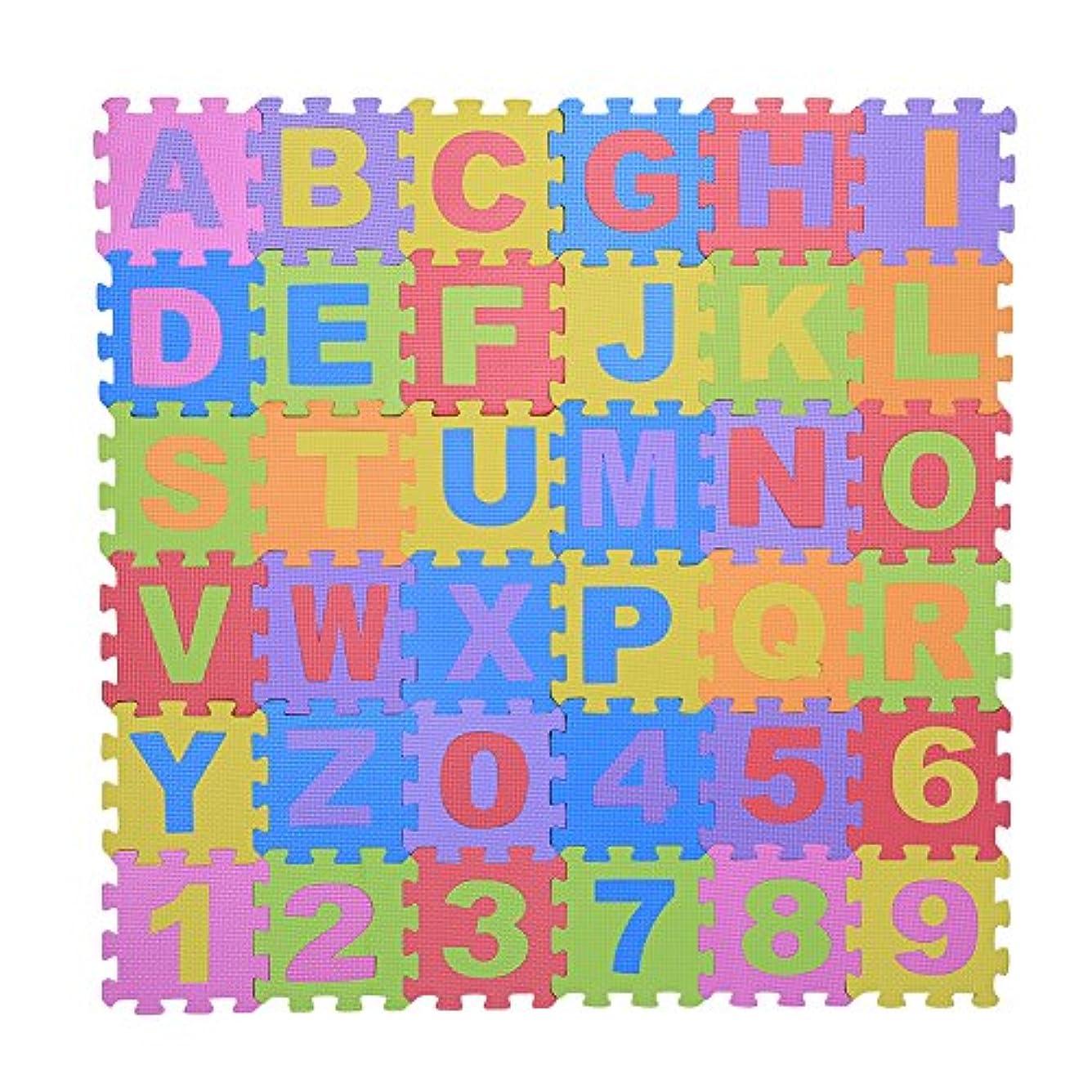後ろに経済大事にする36ピース幼児ソフトEVAフォーム遊びパズルマット数字と手紙子供の子供たちがクロール非毒性パッドおもちゃを再生する