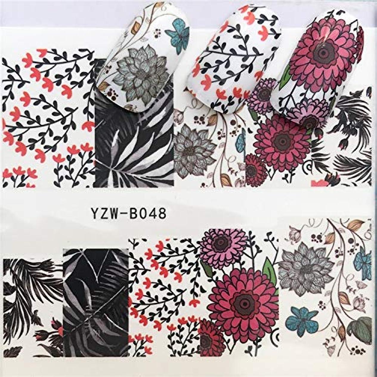 保安葉風刺手足ビューティーケア 3個ネイルステッカーセットデカール水転写スライダーネイルアートデコレーション、色:YZWB048