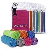 VACNITE クールタオル 速乾タオル 超吸水 軽量 速乾 熱中症対策 100×30cm 7色選択可能 1枚 防水袋 (ローズレッド)
