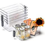 EZOWare Fridge Storage Bins with Handle, 6 Pack Transparent Kitchen Tidy Food Organiser Container Box for Refrigerator, Freez