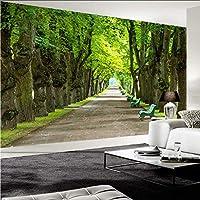 Wxmca カスタム壁画壁紙3Dステレオ美しい緑の木道写真壁壁画リビングルームのソファの背景壁紙-280X200Cm