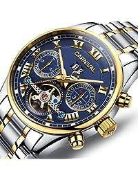 PASOY(パソイ) カーニバル 8728G メンズ 機械式アナログ腕時計 (ネイビー/ゴールド/メタルバンド)