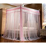 JQWUPUP Elegant Canopy Bed Curtains, Ruffle Princess 4 Corner Post Mosquito Net, Bed Canopy for Girls Kids Toddlers Crib, Bed