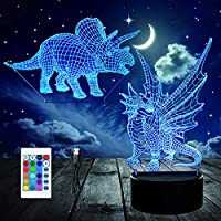 3Dナイトライト、リモートコントロール付き錯視恐竜ナイトランプ16色、子供のための装飾LEDビジュアルナイトライト誕生日プレゼント(2個アクリルパネル)