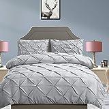 DreamZ Diamond Pintuck Duvet Cover Pillow Case Set in Full Size in Grey Grey Full