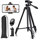 54 inch Phone Tripod, T90 Lightweight Tripod Aluminum Portable Smartphone Tripod with Phone Holder & Remote Shutter and Carry