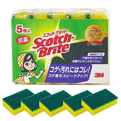 スコッチブライト キッチンスポンジ 抗菌たわしS 5個 S-...