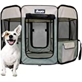 JESPET Portable Foldable Pet Dog Playpens, Soft Exercise Pen Kennel with Carry Bag for Puppy Cats Kittens Rabbits, Shale Gree