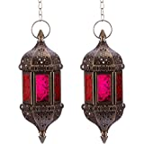 Nuptio 2 Pcs Hanging Hexagon Decorative Moroccan Candle Lantern Holders, Handmade Hanging Tea Light Holder in Bronze Metal &