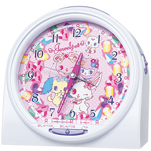 SEIKO CLOCK(セイコークロック) ジュエルペット おしゃべり目ざまし時計アラーム音切替タイプ(白パール塗装) CQ136W