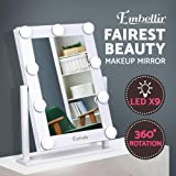 Embellir Makeup Mirror 9 LED Lighted Vanity Mirror with Hollywood Design,Touch Screen and 360°Free Rotaion for Dressing Table