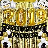 卒業パーティー用品 2019-68個パック ゴールドとブラック 卒業パーティーデコレーション - 卒業バナー バルーン ホイルフリンジカーテン 背景
