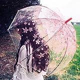 TAEYANG 半透明ビニール傘 桜柄傘 ジャンプ傘 8本骨 半自動開閉 おしゃれ 雨傘 超軽量 レディース・キッズ向け 通勤 通学 長傘 旅行 和風 (ピンク)