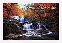 GREAT SMOKY MOUNTAINS、テネシー州–滝と秋色 24 x 16 Framed Giclee (White) LANT-3P-FP-WHT-86429-16x24