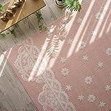 洗える 防ダニ 抗菌 花柄 が かわいい ラグ カーペット ( コペン 190x240 cm ピンク ) 約 3畳 床暖房対応 ホットカーペット対応